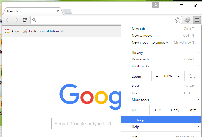 Change the proxy settings of the Google Chrome Browser