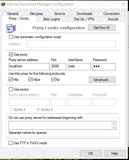 Change the Proxy and Socks Setting of IDM (Internet Download Manager