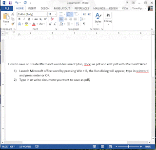 Microsoft Word written