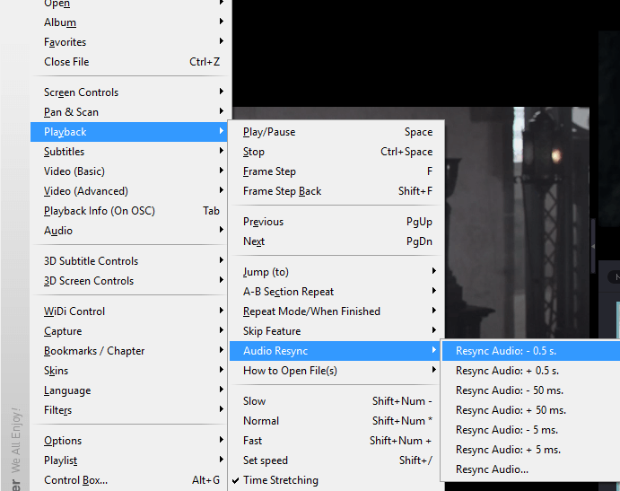 KMPlayer Audio Sync With Right Click