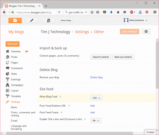 blogger backup and import