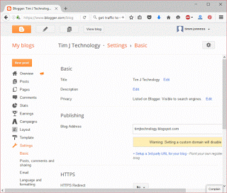 Basic settings in blogger