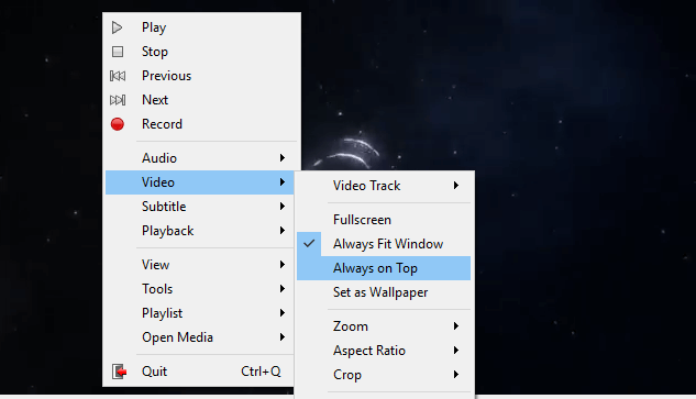 how to keep vlc always on top mac