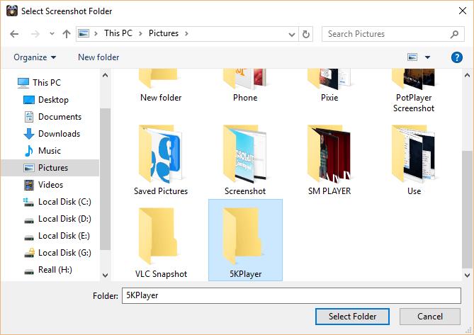 Change Snapshot or Screenshot folder in 5KPlayer • About Device