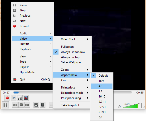 VLC Media Player - Change Aspect Ratio • About Device