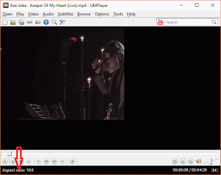 UMPlayer Aspect ratio using keyboard shortcut