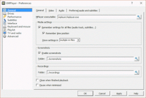 UMPlayer– Screenshot Folder or Location