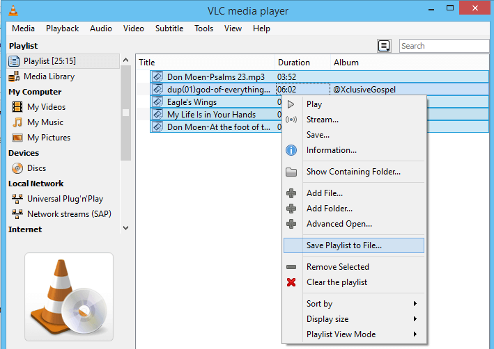 VLC Media Player – Create and Save Playlist • About Device