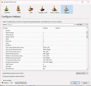 VLC Hotkeys keyboard shorcuts