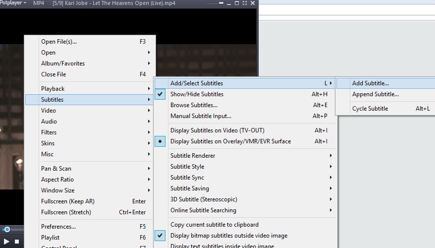 Daum PotPlayer – Load External Subtitle File • About Device