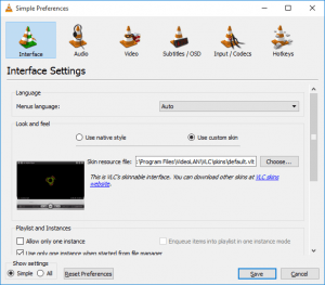 VLC check use custom skin