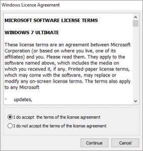 Windows License Agreement