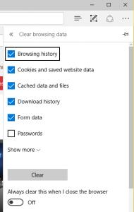 Microsoft Edge Clear History