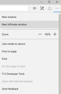Microsoft Edge InPrivate Settings