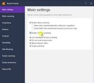 Avast Enable HTTPS scanning