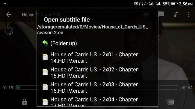 MX Player - Load External Subtitle File • About Device