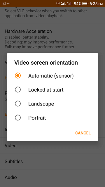 Set played Video on VLC automatically to Full screen • About Device