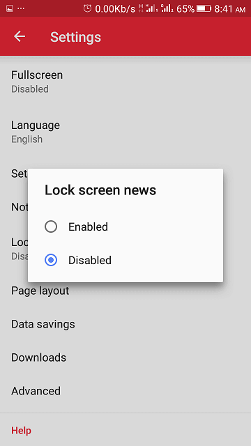 Enable or Disable Lock Screen News and Ads on Opera Mini