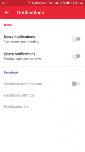 Opera Mini Android Notification Settings