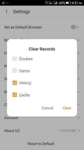Clear Cookies, History, Cache on UC Browser (Android