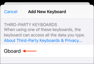 Select the keyboard app