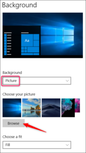 Changing Windows 10 wallpaper