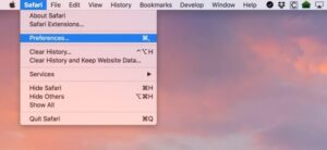 Click the Safari drop-down menu
