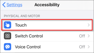 On Settings, navigate to Accessibility to Touch.