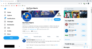 StarTimes Twitter Page