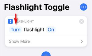 """Tap the word """"Turn"""" from the """"Turn flashlight on"""" phrase."""