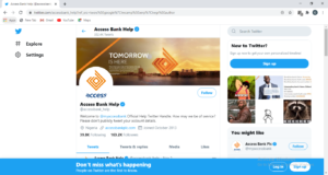 Access Bank Twitter Page