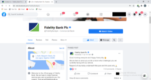 Fidelity bank Facebook Page