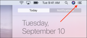 Click the Notification Center icon