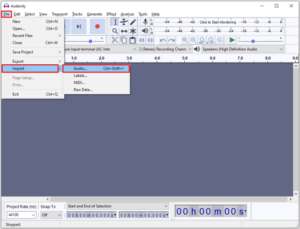 Navigate to File > Import > Audio