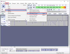 Navigate to Select > Region > Track Start to Cursor