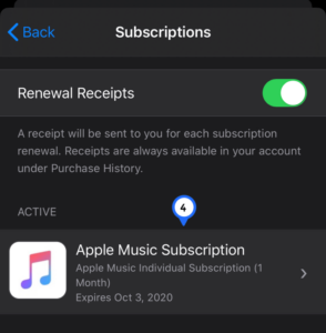 Locate the subscription you wish to cancel