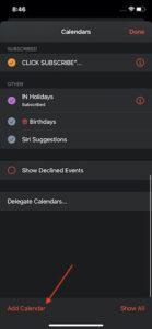Tap Add Calendar