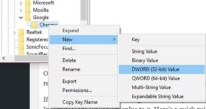 Rename New Key #1 to Chrome