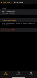 Select Unpair Apple Watch