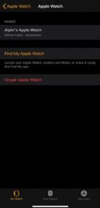 Select Unpair Apple Watch
