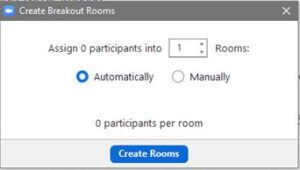 Indicate the number of participants you want in the breakout room