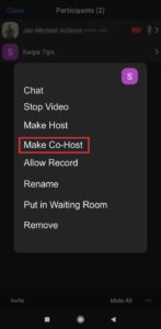 Select Make co-host from the menu