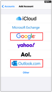 Add your Google and Outlook accounts