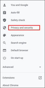 Click Privacy and Security; Source: alphr.com