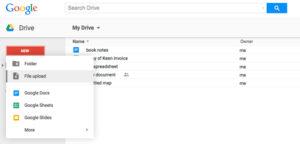 Upload Files to Google Drive; Source: dummies.com