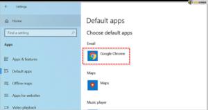 Set Google Chrome as default apps; Source: alphr.com