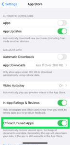 Enable Offload Unused Apps; Source: alphr.com