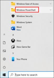 Select Windows Powershell; Source: alphr.com