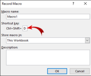 Enter a Shortcut key; Source: alphr.com