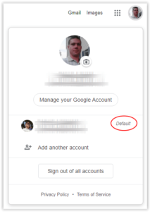 Your preferred account would be set as default; Source: alphr.com